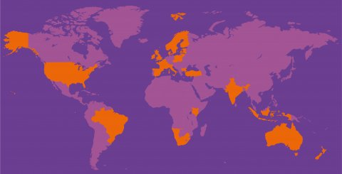 Map of the world in purple colours, those countries FUAS has partner universities in are marked in orange.