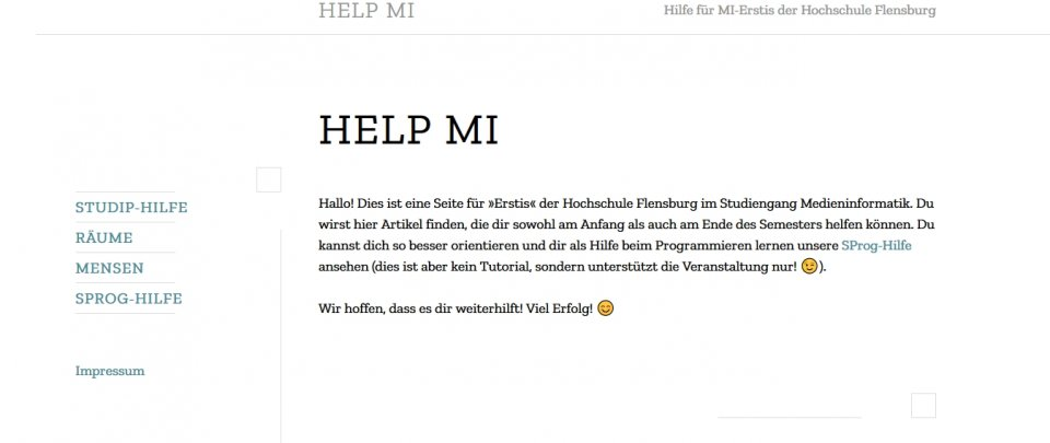 Ein Screenshot HelpMI Website