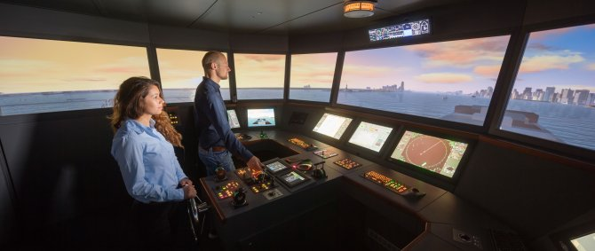 Students on our ship bridge simulator